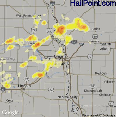 Hail Map for Omaha, NE Region on June 21, 2014