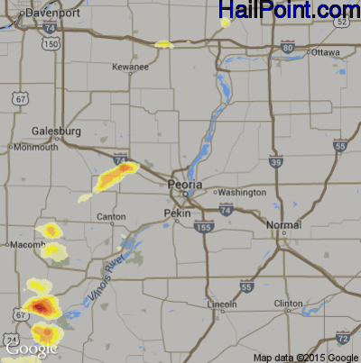Hail Map for Peoria, IL Region on June 21, 2014