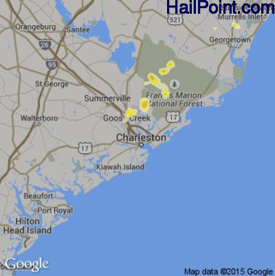 Hail Map for Charleston, SC Region on June 21, 2014