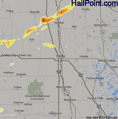 Hail Map for Fargo, ND Region on June 21, 2014