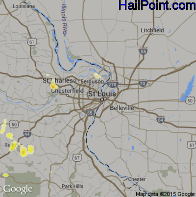 Hail Map for St. Louis, MO Region on June 22, 2014