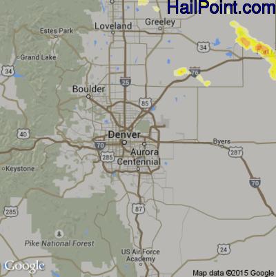 Hail Map for Denver, CO Region on June 22, 2014