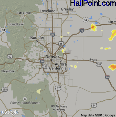Hail Map for Denver, CO Region on June 23, 2014