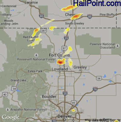 Hail Map for Fort Collins, CO Region on June 24, 2014