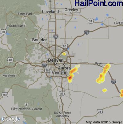 Hail Map for Denver, CO Region on June 25, 2014