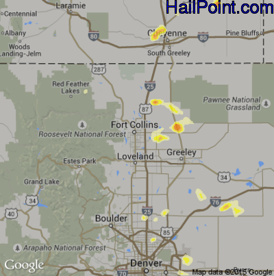 Hail Map for Fort Collins, CO Region on June 27, 2014