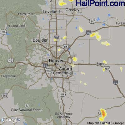 Hail Map for Denver, CO Region on June 27, 2014