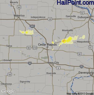 Hail Map for Cedar Rapids, IA Region on June 30, 2014