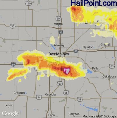 Hail Map for Des Moines, IA Region on June 30, 2014