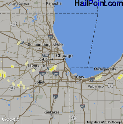 Hail Map for Chicago, IL Region on June 30, 2014