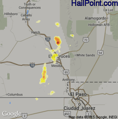 Hail Map for Las Cruces, NM Region on July 1, 2014