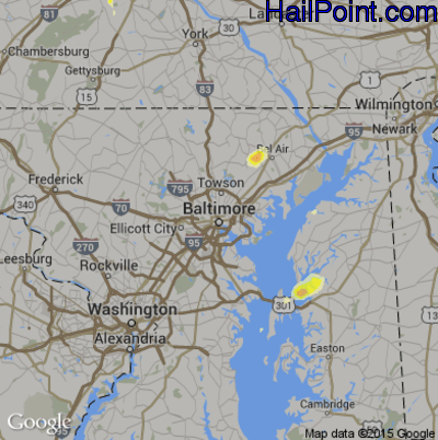 Hail Map for Baltimore, MD Region on July 2, 2014