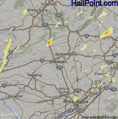 Hail Map for Allentown, PA Region on July 3, 2014