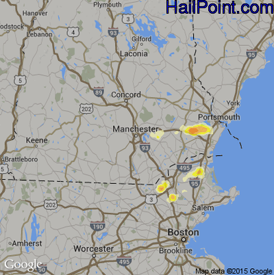 Hail Map for Manchester, NH Region on July 3, 2014