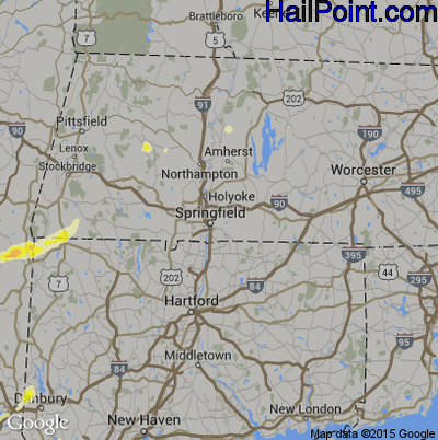 Hail Map for Springfield, MA Region on July 3, 2014
