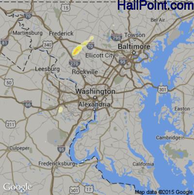 Hail Map for Washington, DC Region on July 3, 2014