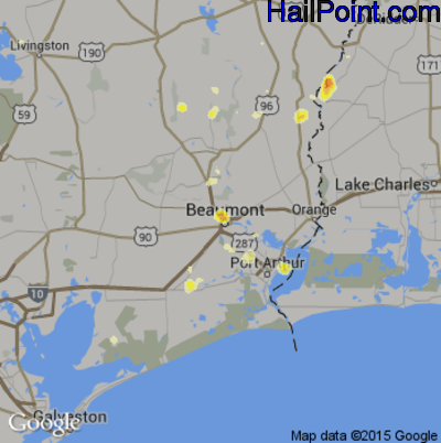 Hail Map for Beaumont, TX Region on July 3, 2014