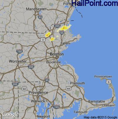 Hail Map for Boston, MA Region on July 3, 2014