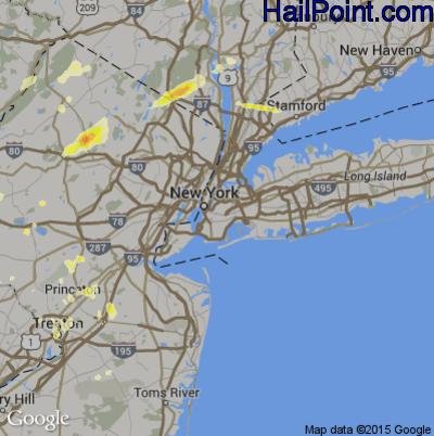 Hail Map for New York, NY Region on July 3, 2014