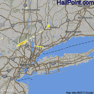Hail Map for Stamford, CT Region on July 3, 2014