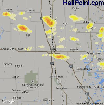 Hail Map for Fargo, ND Region on July 6, 2014