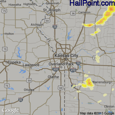Hail Map for Kansas City, KS Region on July 6, 2014