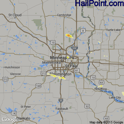 Hail Map for Minneapolis, MN Region on July 7, 2014