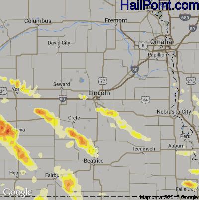 Hail Map for Lincoln, NE Region on July 8, 2014