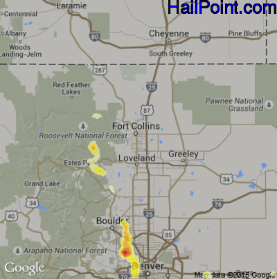 Hail Map for Fort Collins, CO Region on July 8, 2014