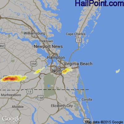 Hail Map for Norfolk, VA Region on July 10, 2014