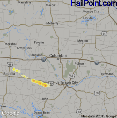 Hail Map for Columbia, MO Region on July 14, 2014
