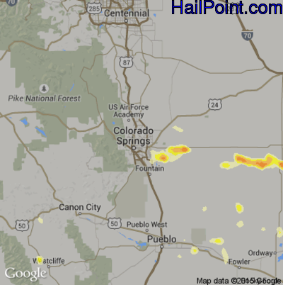 Hail Map for Colorado Springs, CO Region on July 14, 2014