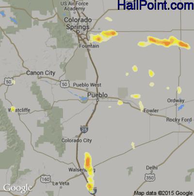 Hail Map for Pueblo, CO Region on July 14, 2014