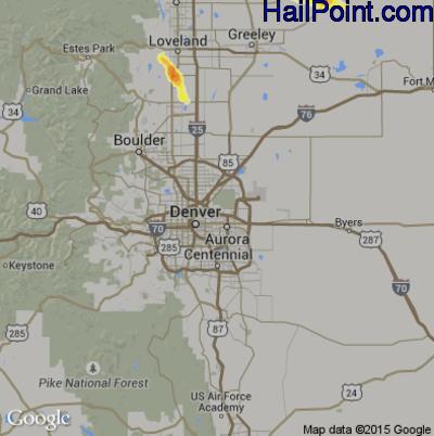 Hail Map for Denver, CO Region on July 14, 2014