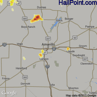 Hail Map for Amarillo, TX Region on July 14, 2014