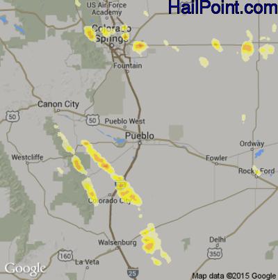 Hail Map for Pueblo, CO Region on July 16, 2014