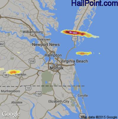Hail Map for Norfolk, VA Region on July 24, 2014