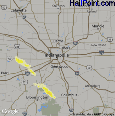 Hail Map for Indianapolis, IN Region on July 26, 2014