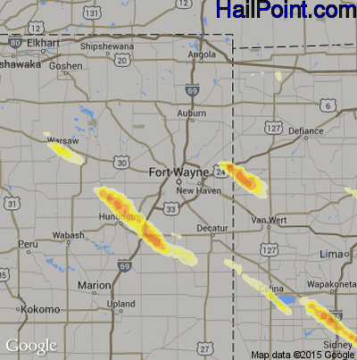 Hail Map for Fort Wayne, IN Region on July 26, 2014