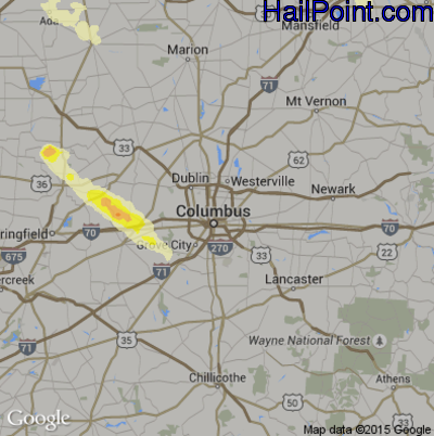 Hail Map for Columbus, OH Region on July 26, 2014