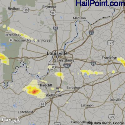 Hail Map for Louisville, KY Region on July 27, 2014