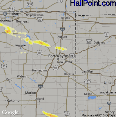 Hail Map for Fort Wayne, IN Region on July 27, 2014