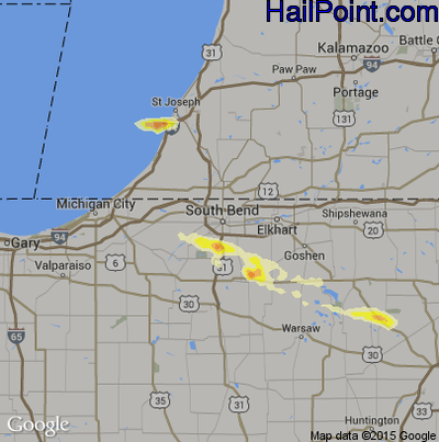Hail Map for South Bend, IN Region on July 27, 2014