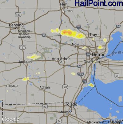 Hail Map for Ann Arbor, MI Region on July 27, 2014
