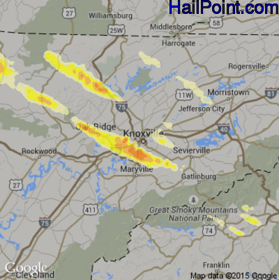 Hail Map for Knoxville, TN Region on July 27, 2014