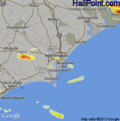 Hail Map for Wilmington, NC Region on July 28, 2014