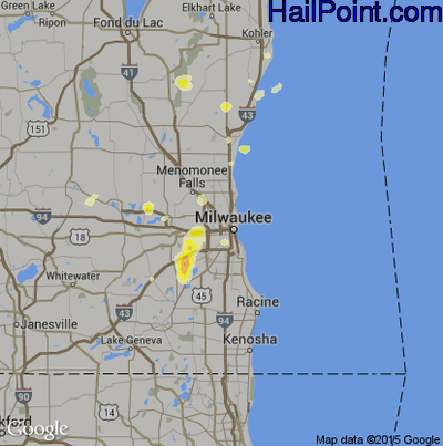 Hail Map for Milwaukee, WI Region on August 1, 2014