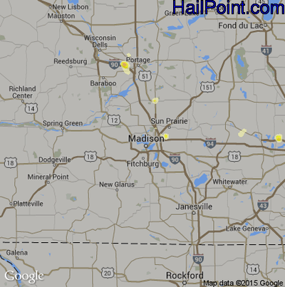 Hail Map for Madison, WI Region on August 1, 2014