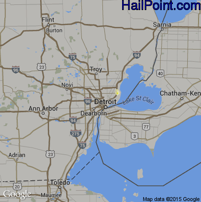 Hail Map for Detroit, MI Region on August 4, 2014