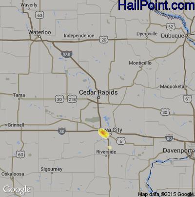 Hail Map for Cedar Rapids, IA Region on August 4, 2014